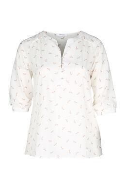Mit Libellen bedruckte Bluse, naturfarben