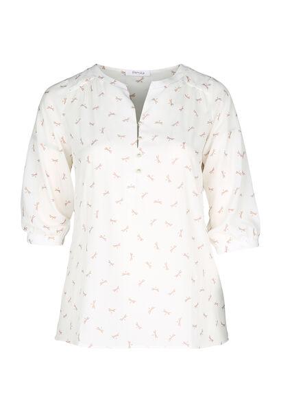 Mit Libellen bedruckte Bluse - naturfarben