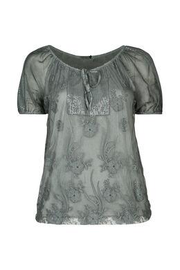 T-Shirt aus Ausbrenner-Material mit Strass, Khaki