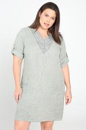 Tunika-Kleid aus Leinen mit Stickerei am Ausschnitt