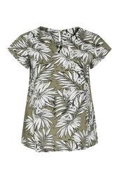 Viskose-Bluse mit Palmblätter-Print