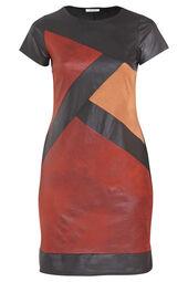 Kleid mit Kunstledereinsätzen