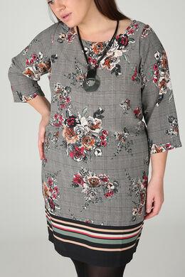 Kleid aus bedrucktem Krepp, Schwarz
