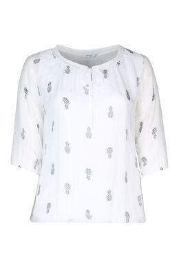 Bluse mit Pailletten am Ausschnitt, weiß