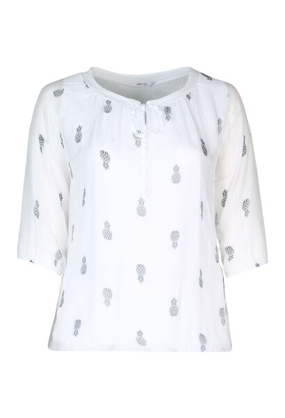 Bluse mit Pailletten am Ausschnitt - weiß
