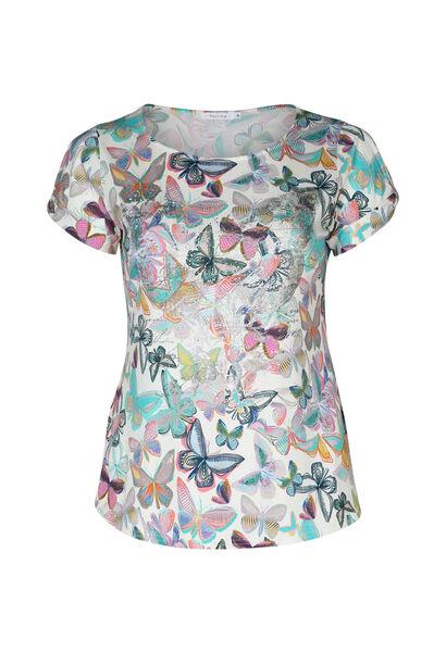 T-Shirt mit Schmetterlingsaufdruck und Strass - Multicolor