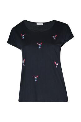 Mit Vögeln besticktes T-Shirt, Marine
