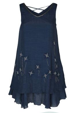 Einfarbiges Kleid mit Blüten aus Mesh und Perlen, Marine