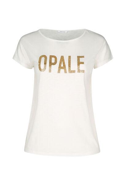 """T-Shirt aus geflammtem Material mit Aufdruck """"Opale"""" - naturfarben"""