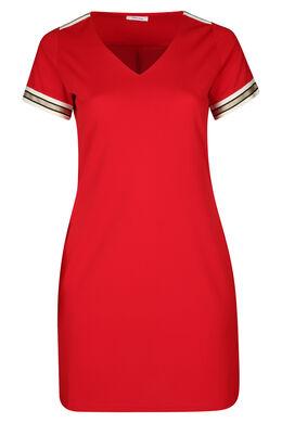 Kleid aus Krepp mit Lurex-Streifen, Rot