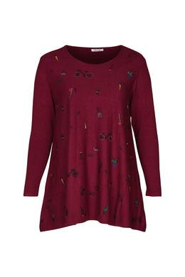 Tunika-Pullover mit Aufdruck, Rot