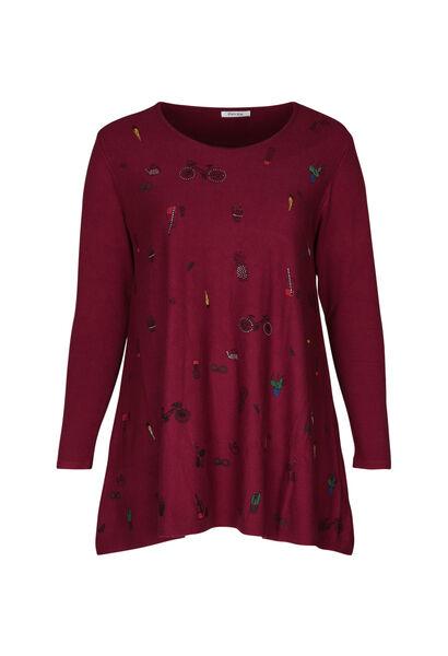 Tunika-Pullover mit Aufdruck - Rot
