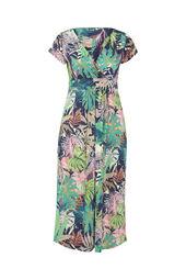 Langes Kleid mit Blattmuster-Print