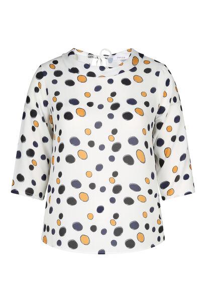 Tupfendruck-Bluse mit großzügigem Kragen - naturfarben