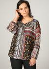 Bluse aus Voile mit Blumen-Print im Patchwork-Stil, Schwarz