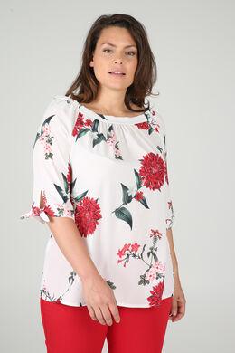 Bluse aus Voile mit Blumen-Print, Rot