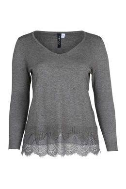 Pullover mit Spitzeneinsatz, China Grau