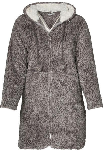 Langer Pullover mit Reißverschluss aus kuscheligem Material - Dunkelgrau