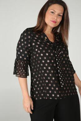 Bluse aus Voile mit Tupfenaufdruck, Schwarz