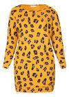 Sweatshirt-Kleid mit attraktivem Print, ocker