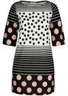 Kleid aus Kreppstoff mit Tupfen- und Streifenaufdruck, Rosa