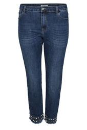 7/8-Jeans mit Perlen- und Strass-Details