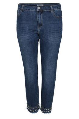 7/8-Jeans mit Perlen- und Strass-Details, Denim