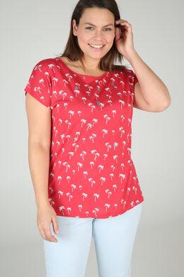 Baumwoll-T-Shirt mit Palmen-Print, Koralle