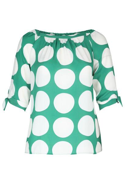 Mit großen Tupfen bedruckte Bluse aus Voile - Grün