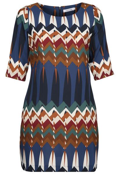 Kleid in entspannter Passform mit Ethno-Print - Multicolor