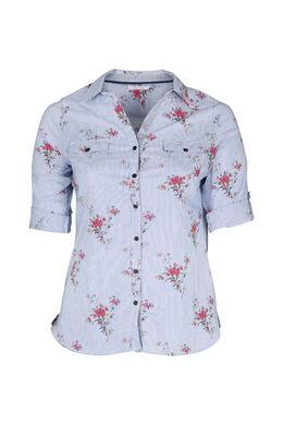 Gestreifte, mit Blumen bedruckte Bluse, Multicolor