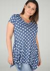 Tunika T-shirt aus kühlem Material mit Tupfendruck, Denim