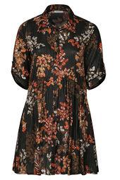 Kleid mit Blumen-Print und Streifen