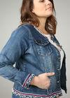 Jeans-Jacke mit Sportswear-Streifen und Perlen, Denim
