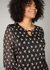 Bluse aus Voile mit Ethno-Print, Schwarz